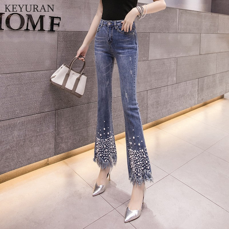 Pearl Beading Flare Cropped Jeans