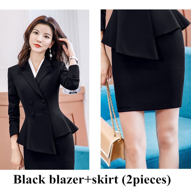 Ruffle Slim Double Breasted Blazer Suit