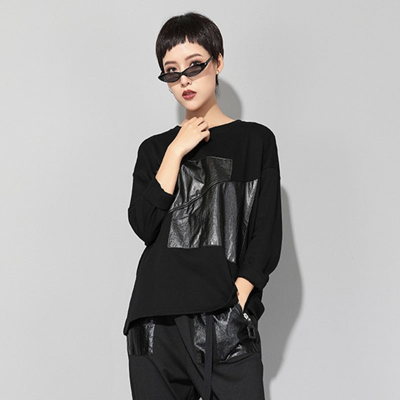 Joan Edgy Faux Leather Shirt
