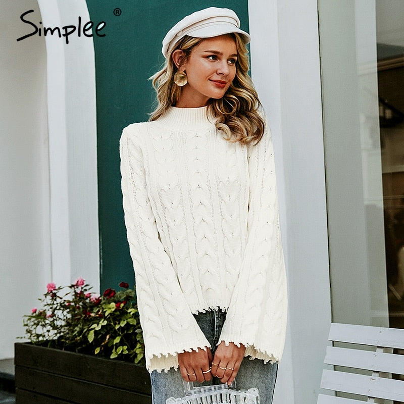 Knitted Flare Sleeve Sweater