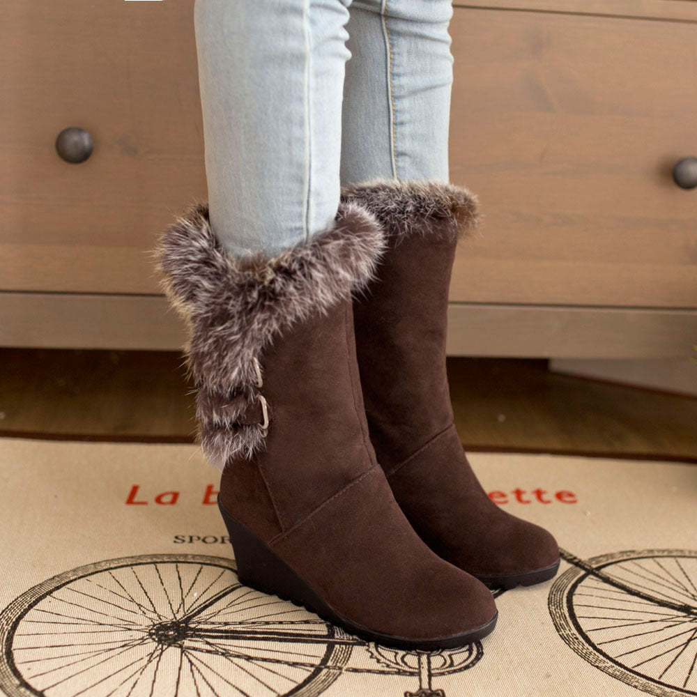 Wedge Fur Boots
