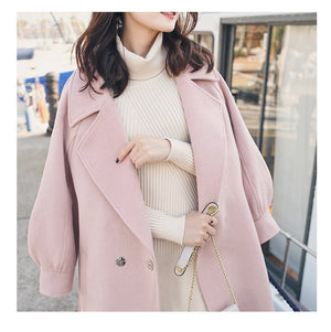 Cozy Wool Coat With Lantern Sleeves