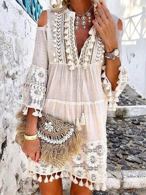 3/4 Sleeve Summer Tassel Bohemian Dress