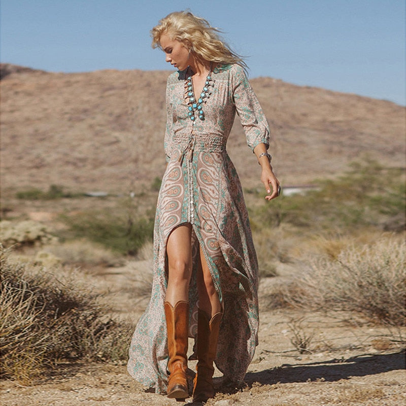 Boho Desert Queen Maxi Dress