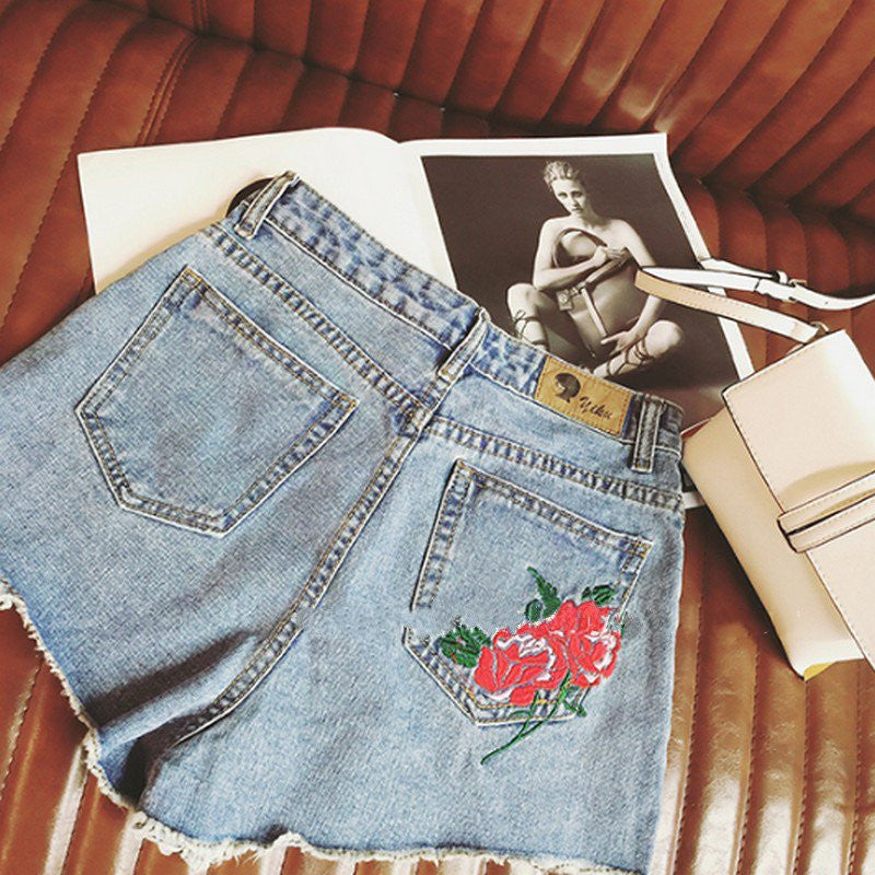 Rose Patch Denim Shorts