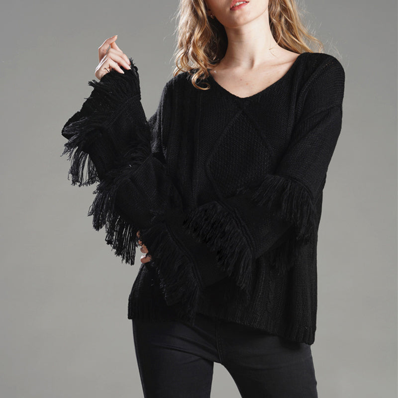 Boho Fringe Long Sleeve Sweater
