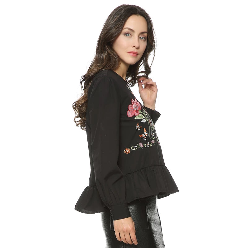 Peplum Flower Embroidery Long Sleeve Shirt