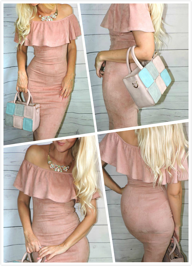 Pink Shoulder Ruffle Dress