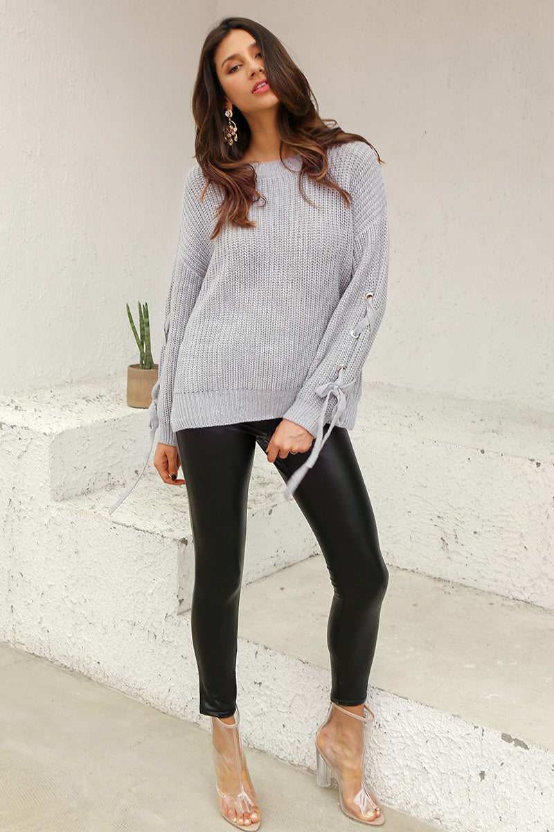 Lace Up sleeve Knit Sweater