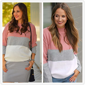 Color Block Textured Loose Sweater