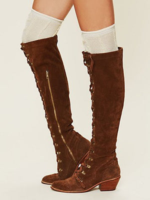Over-the-knee Genuine Leather Lace Up Tall Boots