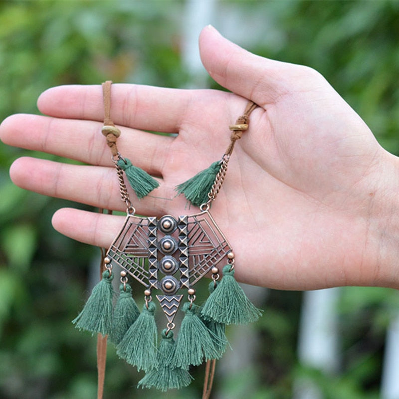 Vintage Boho Long Fringe Tassel Necklaces