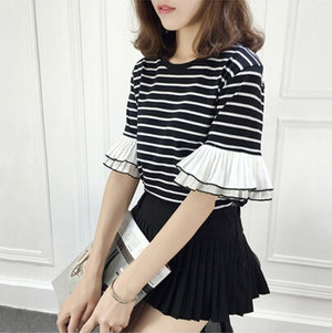 Striped Ruffle Sleeve T-shirt