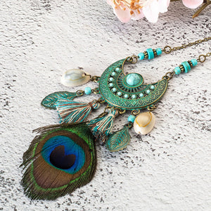 Island Vibe Tassel Peacock Feather Bohemian Long Necklace