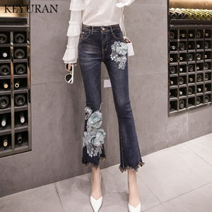 Beaded Embroidery Stretching Tassel Flare Jeans