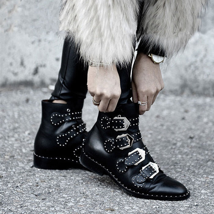Studded Booties With Buckle
