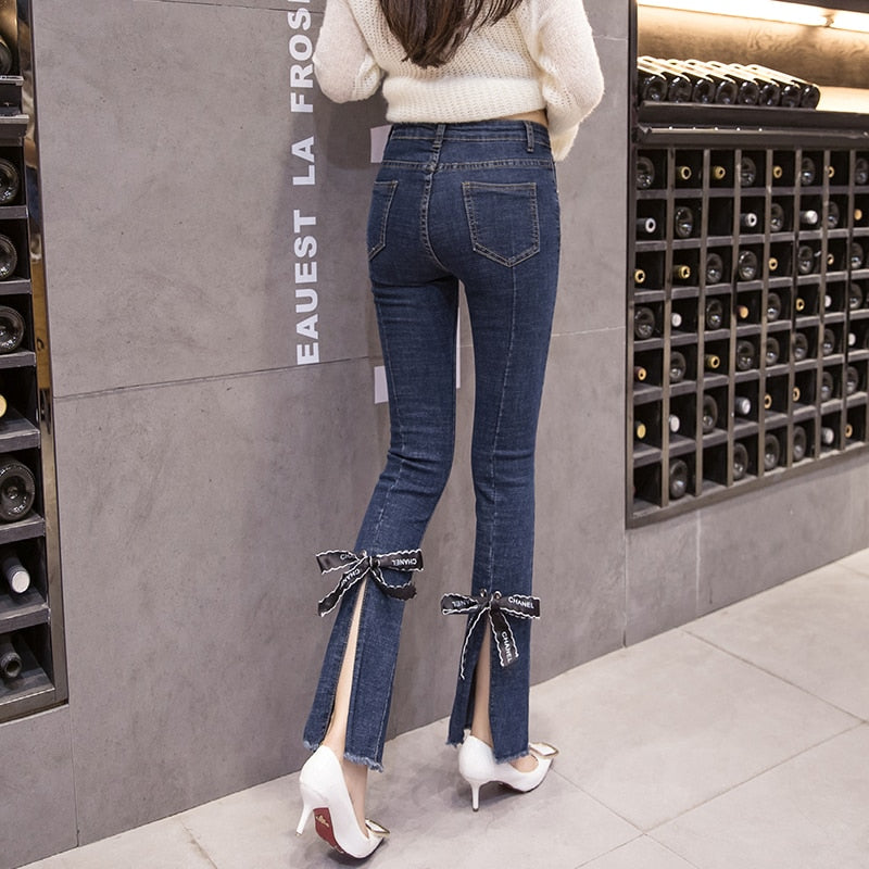 High Waist Thin Bow Split Jeans