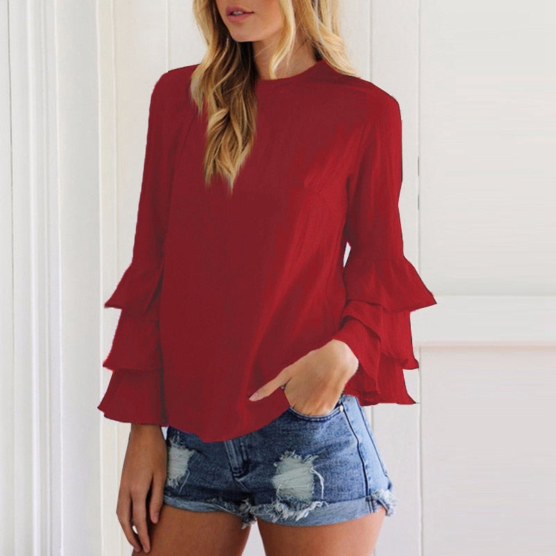 Long 3 Tiered Ruffle Sleeve Blouse