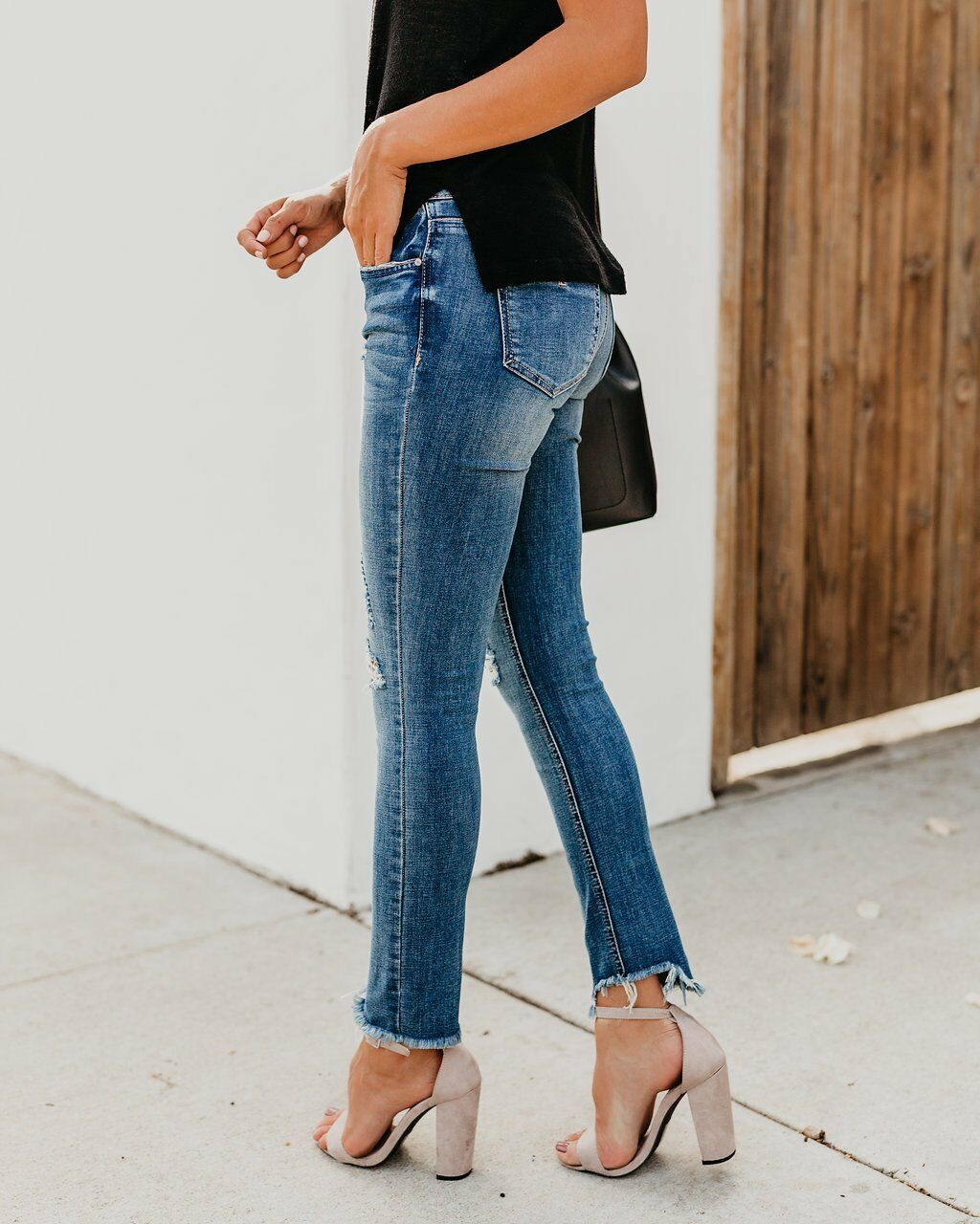 Stretch Ripped Distressed Skinny High Waist Jeans