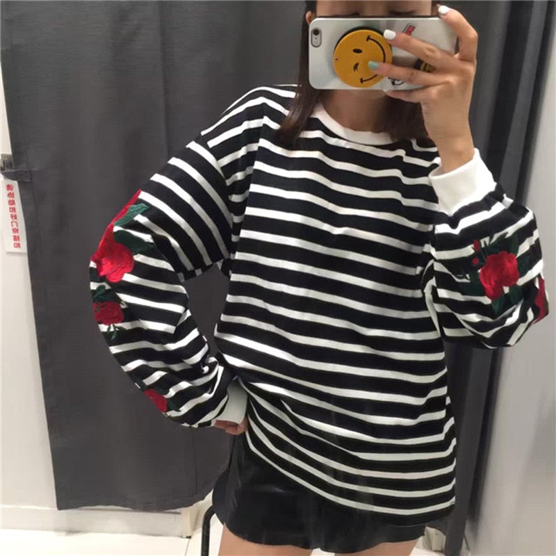 Roses Embroidery Lantern Sleeve Loose Striped Sweatshirt