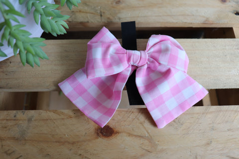 Pink Check Pussycat Bow