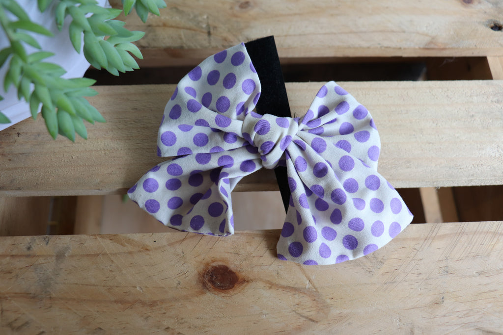 Purple Dot Pussycat Bow