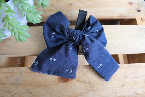 Denim Anchor Pussycat Bow