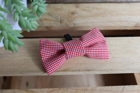 Red Check Bow Tie