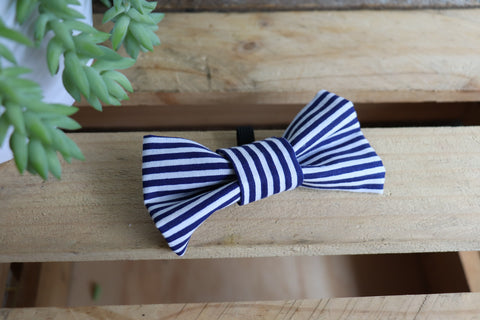 Blue Stripe Bow Tie