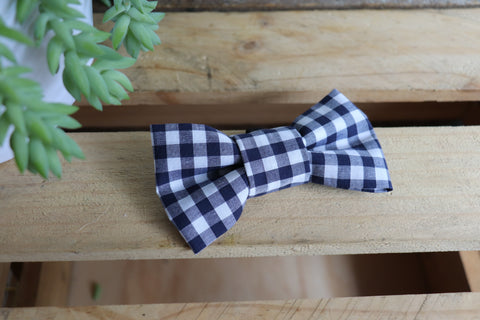 Blue Check Bow Tie