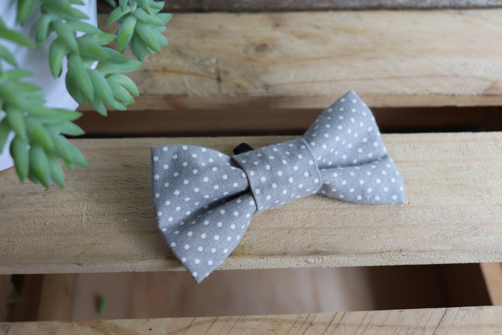 Grey Dot Bow Tie