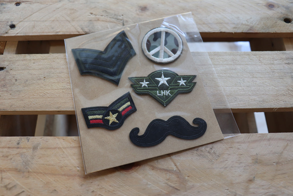 Navy Iron On Patch Set
