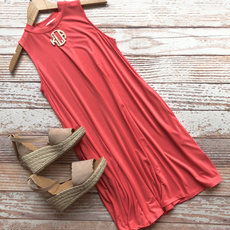 Carefree Coral Sleeveless Dress