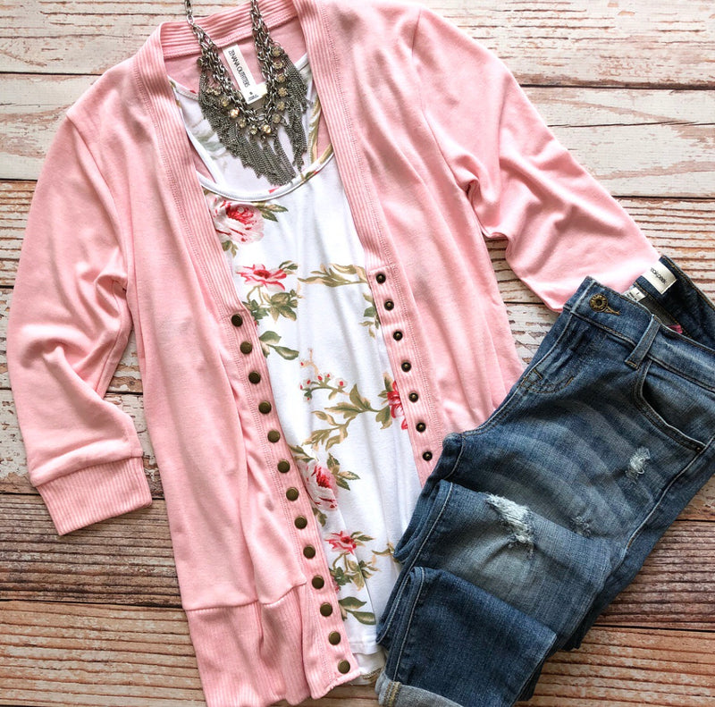 Classic Cardigan 3/4 Sleeves in Light Pink
