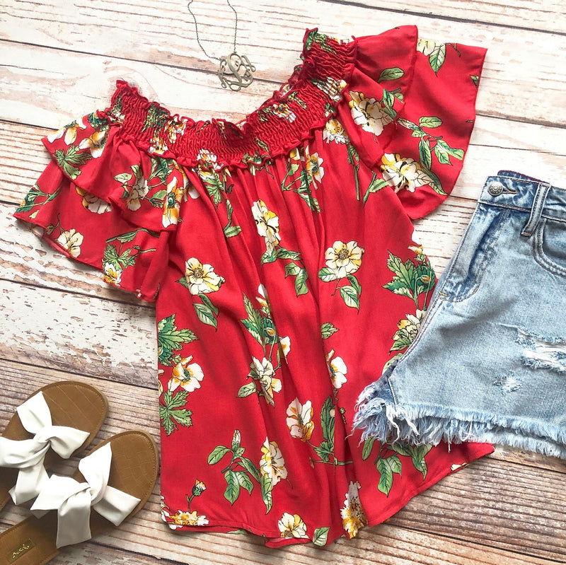 Spring Escape Floral Off The Shoulder Top In Red