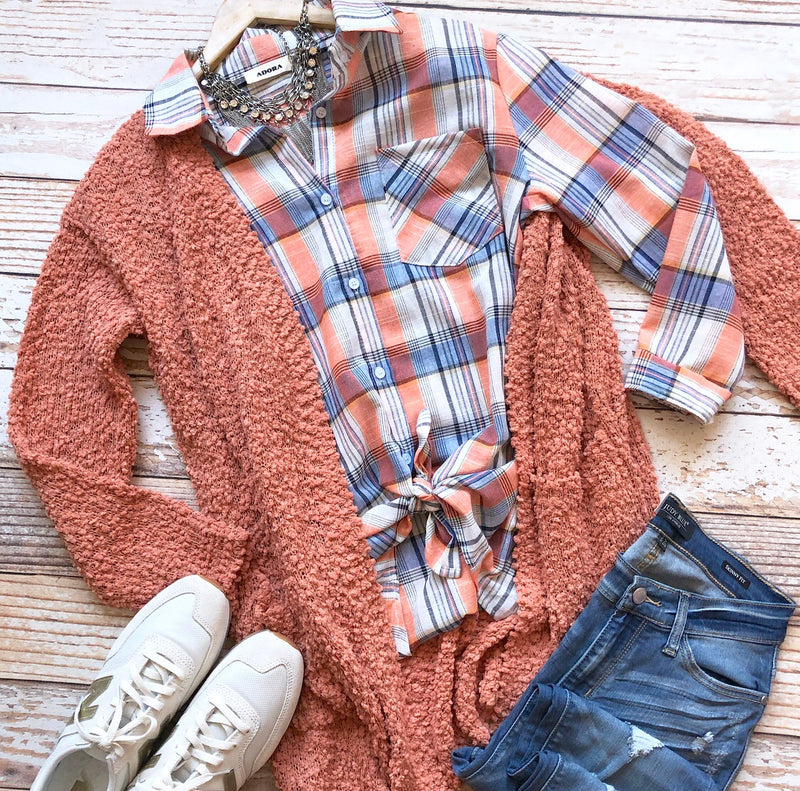 Loosen Up Plaid Top In Coral