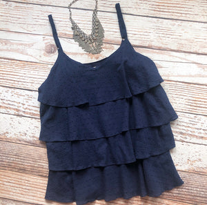 Spring Fling Layered Top In Navy