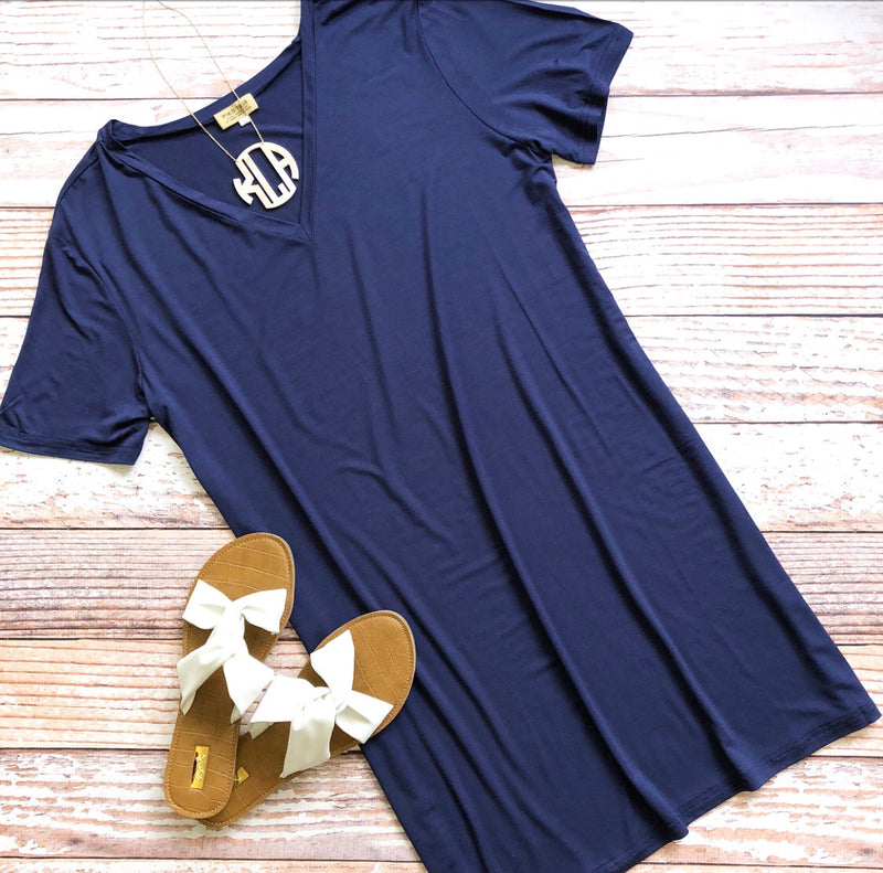 Piko Dress in Navy