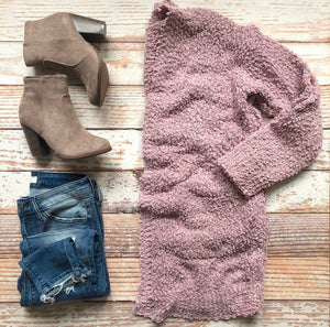 Cuddle With Me Cardigan In Mauve