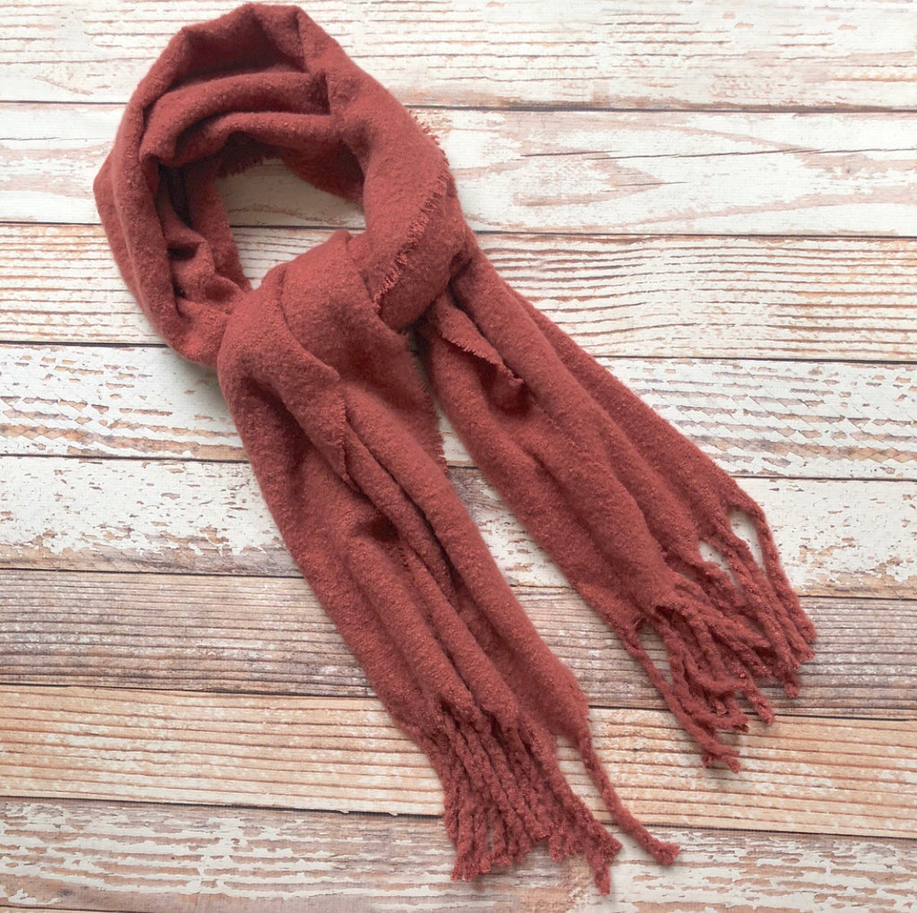 Francesca Fringe Scarf In Rust