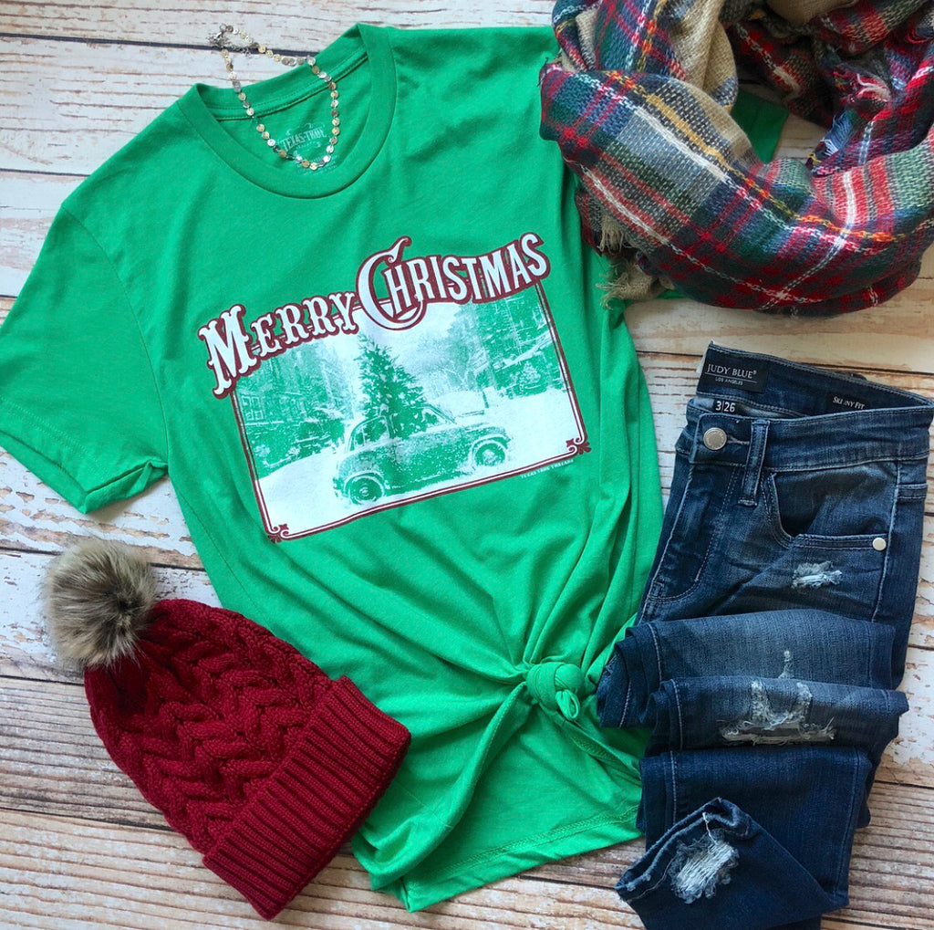 Old Time Christmas Car Tee In Green