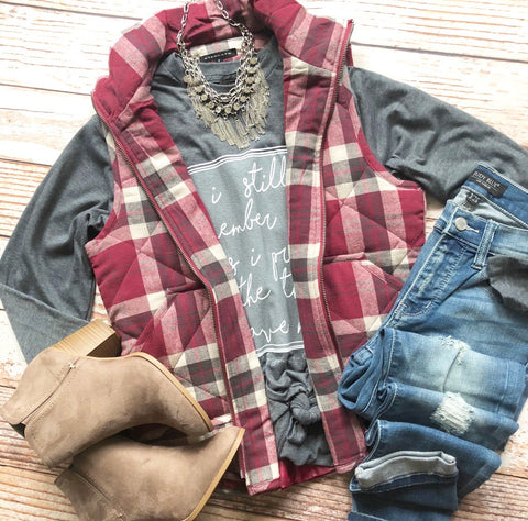Joyful Berry Plaid Vest