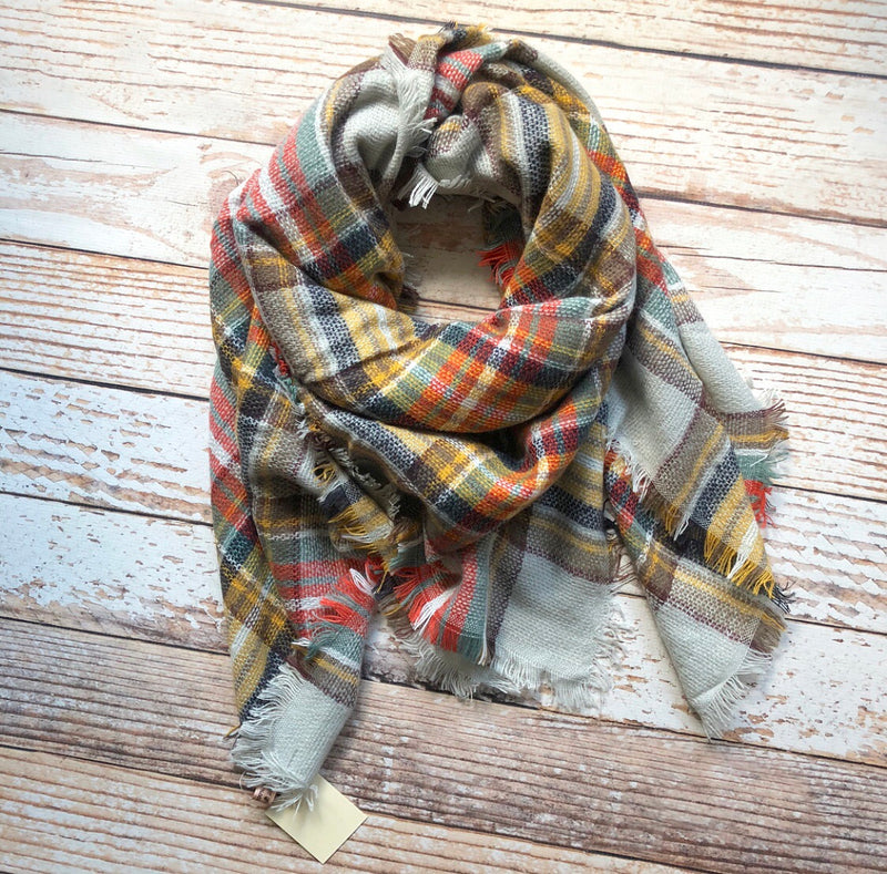 Plaid Blanket Scarf In Mustard