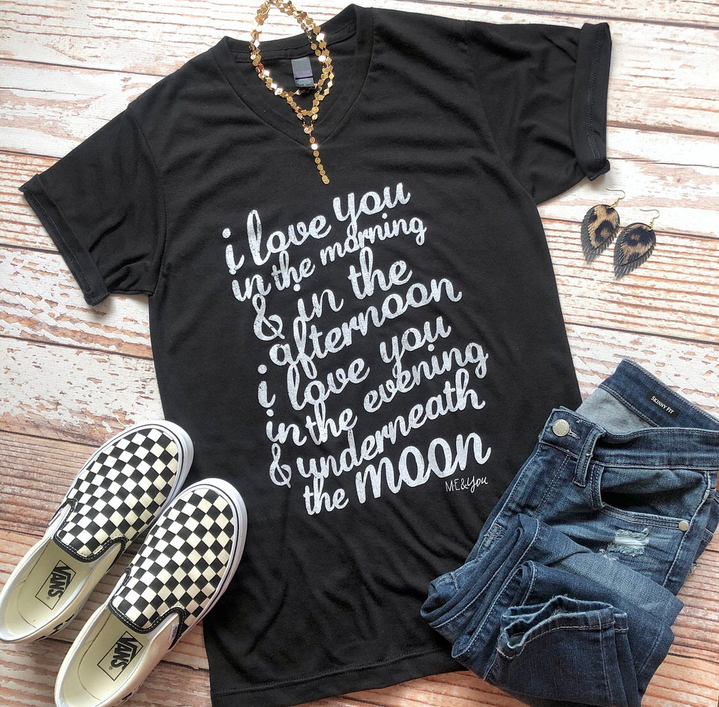 Love You In The Morning Tee In Black