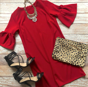 Holiday Classic Short Sleeve Dress In Red