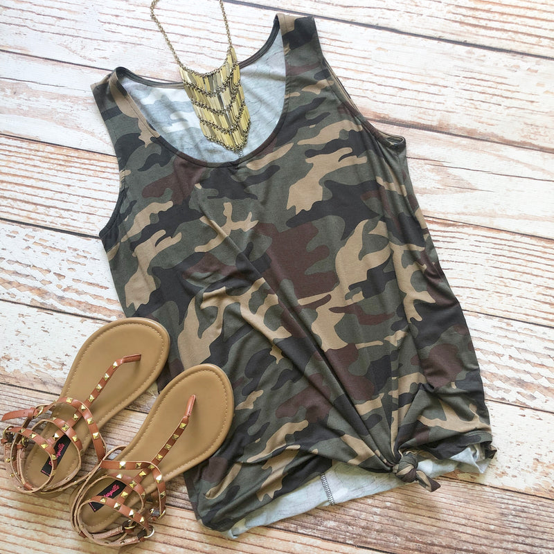 Sherbert Basic Tank In Dark Camo