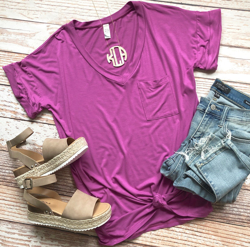 Keeping It Simple Tee In Magenta
