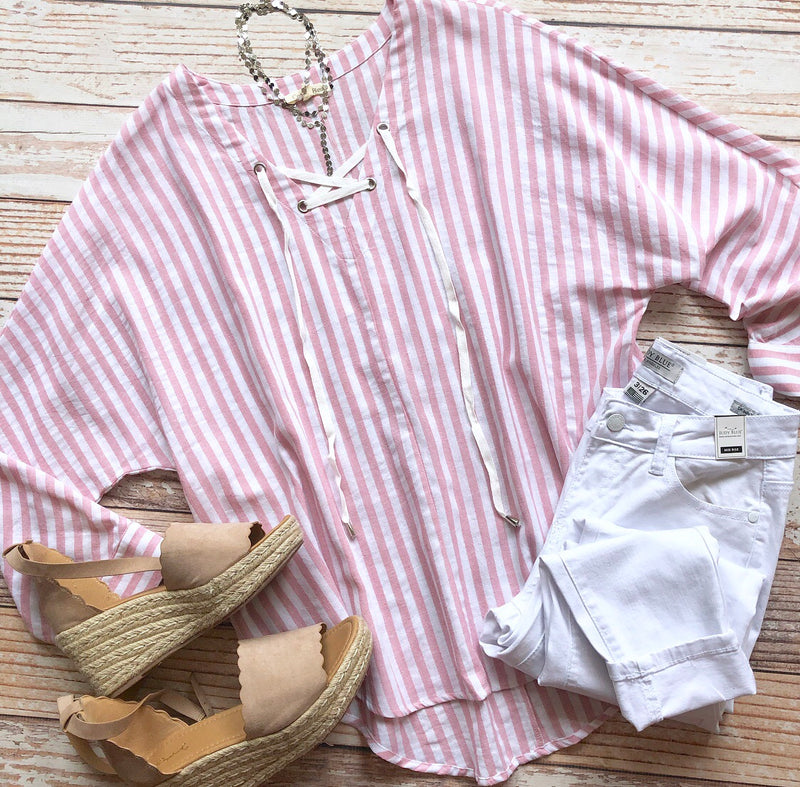 Aubree Striped Top In Pink