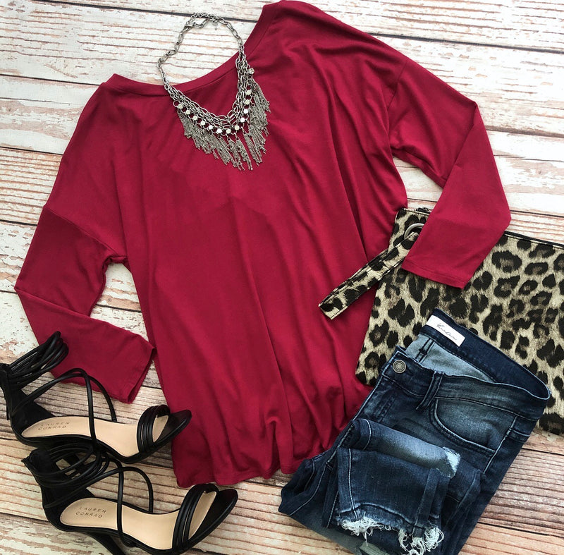 Ellie Top In Burgundy