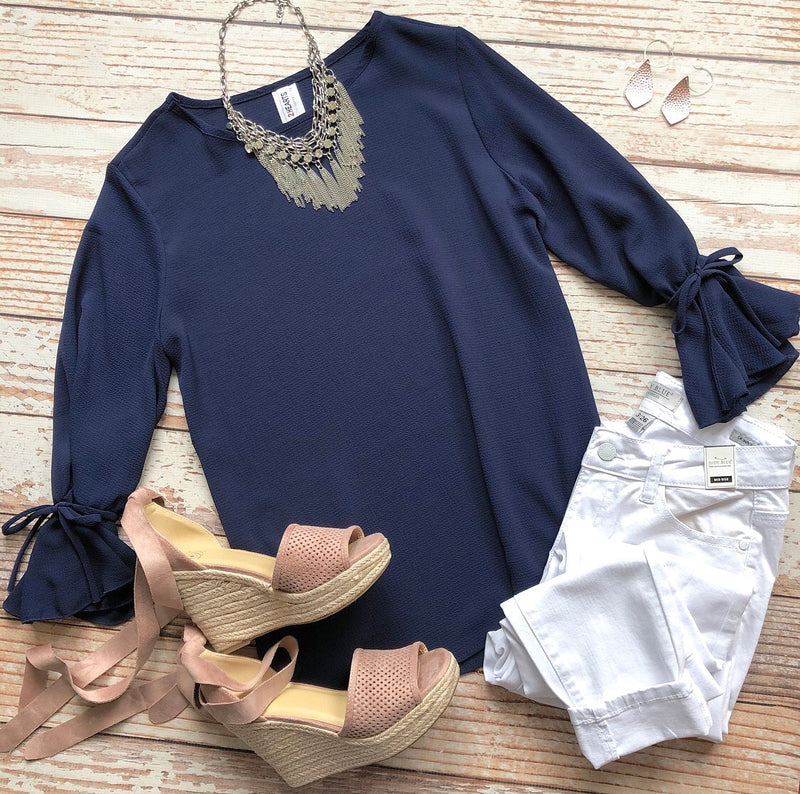Working Girl Top In Navy
